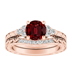 VICTORIA  Vintage  Style  Ruby  Wedding  Ring  Set  In  14K  Rose  Gold  With  0.50  Carat  Round  Stone