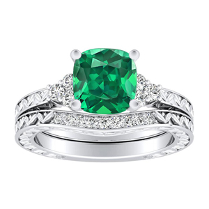 VICTORIA  Vintage  Style  Green  Emerald  Wedding  Ring  Set  In  14K  White  Gold  With  0.50  Carat  Cushion  Stone