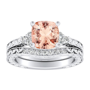<span>VICTORIA</span> Vintage  Style  Morganite  Wedding  Ring  Set  In  14K  White  Gold  With  1.00  Carat  Cushion  Stone