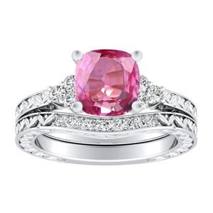 VICTORIA  Vintage  Style  Pink  Sapphire  Wedding  Ring  Set  In  14K  White  Gold  With  0.50  Carat  Cushion  Stone