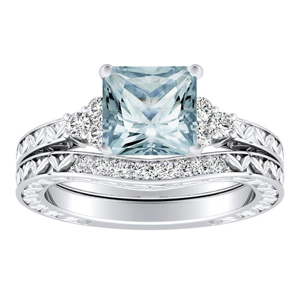 VICTORIA  Vintage  Style  Aquamarine  Wedding  Ring  Set  In  14K  White  Gold  With  1.00  Carat  Princess  Stone