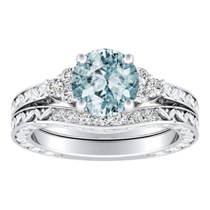 VICTORIA  Vintage  Style  Aquamarine  Wedding  Ring  Set  In  14K  White  Gold  With  1.00  Carat  Round  Stone