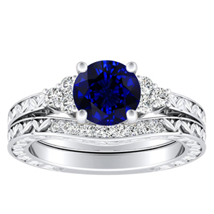 VICTORIA  Vintage  Style  Blue  Sapphire  Wedding  Ring  Set  In  14K  White  Gold  With  0.50  Carat  Round  Stone