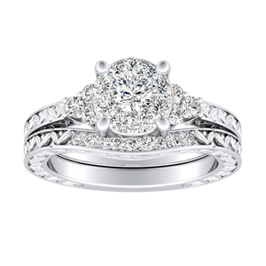 VICTORIA Vintage Style Diamond Wedding Ring Set In 14K White Gold With 0.25 Carat Round Diamond In H-I SI1-SI2 Quality