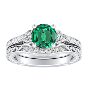 VICTORIA Vintage Style Green Emerald Wedding Ring Set In 14K White Gold With 0.50 Carat Round Stone