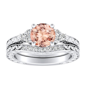 VICTORIA Vintage Style Morganite Wedding Ring Set In 14K White Gold With  1.00 Carat Round Stone