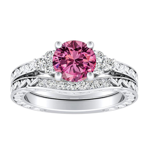 VICTORIA  Vintage  Style  Pink  Sapphire  Wedding  Ring  Set  In  14K  White  Gold  With  0.50  Carat  Round  Stone