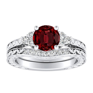 VICTORIA  Vintage  Style  Ruby  Wedding  Ring  Set  In  14K  White  Gold  With  0.50  Carat  Round  Stone