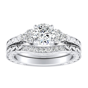 VICTORIA  Vintage  Style  Moissanite  Wedding  Ring  Set  In  14K  White  Gold  With  0.50  Carat  Round  Stone