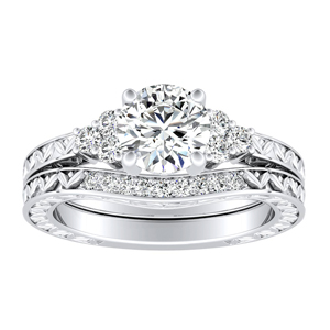 VICTORIA Vintage Style Diamond Wedding Ring Set In 14K White Gold
