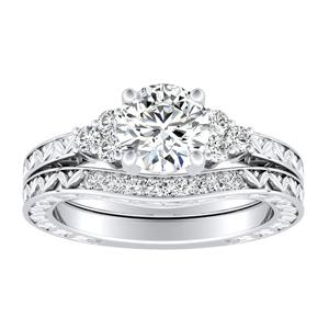 VICTORIA Vintage Style Diamond Wedding Ring Set In 14K White Gold