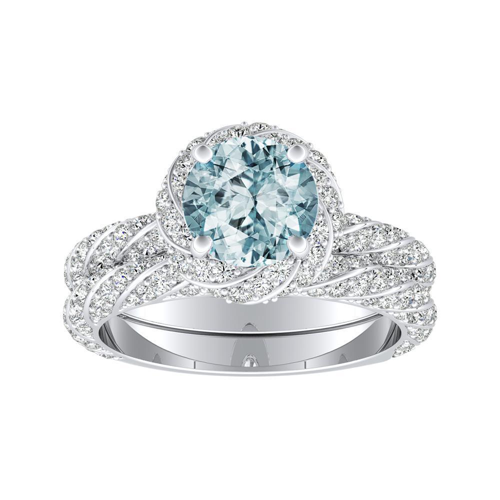 VIVIEN Halo Aquamarine Wedding Ring Set In 14K White Gold With 1.00 Carat Round Stone