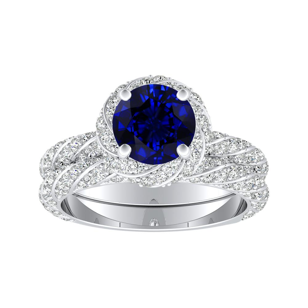 VIVIEN Halo Blue Sapphire Wedding Ring Set In 14K White Gold With 0.50 Carat Round Stone