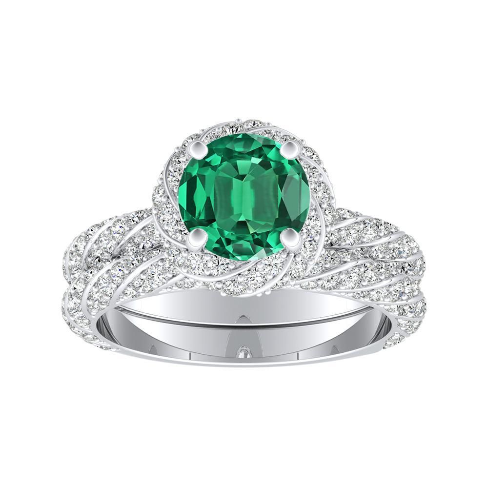 VIVIEN Halo Green Emerald Wedding Ring Set In 14K White Gold With 0.50 Carat Round Stone