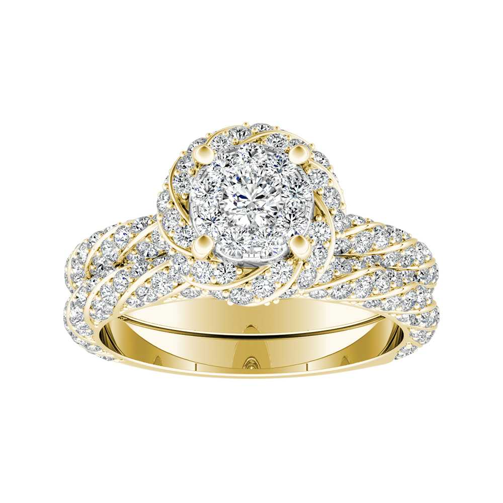 Vivien Halo Diamond Wedding Ring Set In 18k Yellow Gold With Round