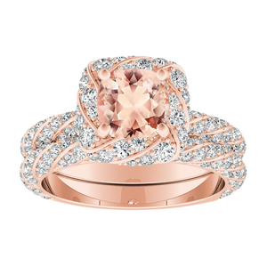 VIVIEN  Halo  Morganite  Wedding  Ring  Set  In  14K  Rose  Gold  With  1.00  Carat  Cushion  Stone