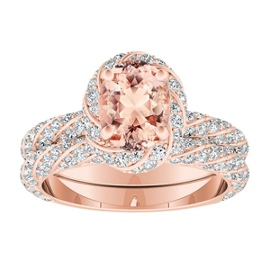 VIVIEN Halo Morganite Wedding Ring Set In 14K Rose Gold With 1.00 Carat Oval Stone