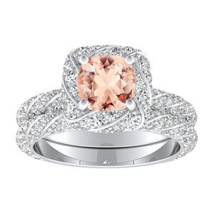 <span>VIVIEN</span> Halo  Morganite  Wedding  Ring  Set  In  14K  White  Gold  With  1.00  Carat  Cushion  Stone