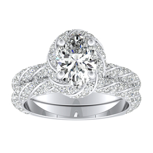 VIVIEN Halo Diamond Wedding Ring Set In 14K White Gold