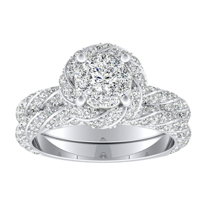 VIVIEN Halo Diamond Wedding Ring Set In 14K White Gold With 0.25 Carat Round Diamond In H-I SI1-SI2 Quality