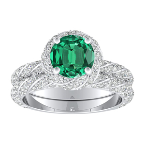 VIVIEN  Halo  Green  Emerald  Wedding  Ring  Set  In  14K  White  Gold  With  0.50  Carat  Round  Stone