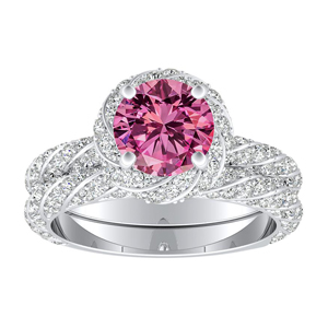 VIVIEN  Halo  Pink  Sapphire  Wedding  Ring  Set  In  14K  White  Gold  With  0.50  Carat  Round  Stone