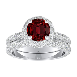 VIVIEN  Halo  Ruby  Wedding  Ring  Set  In  14K  White  Gold  With  0.50  Carat  Round  Stone