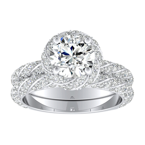 VIVIEN  Halo  Moissanite  Wedding  Ring  Set  In  14K  White  Gold  With  0.50  Carat  Round  Stone