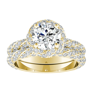 VIVIEN  Halo  Moissanite  Wedding  Ring  Set  In  14K  Yellow  Gold  With  0.50  Carat  Round  Stone