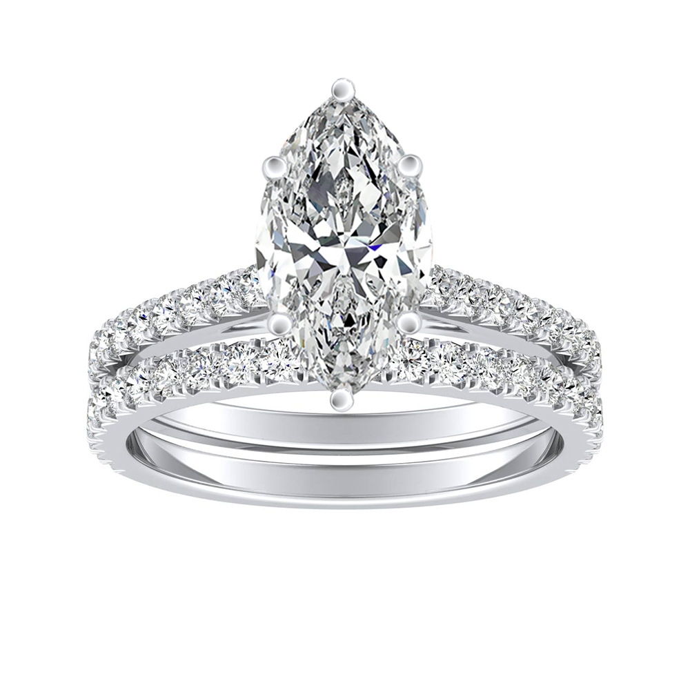 LIV Classic Diamond Wedding Ring Set In 14K White Gold