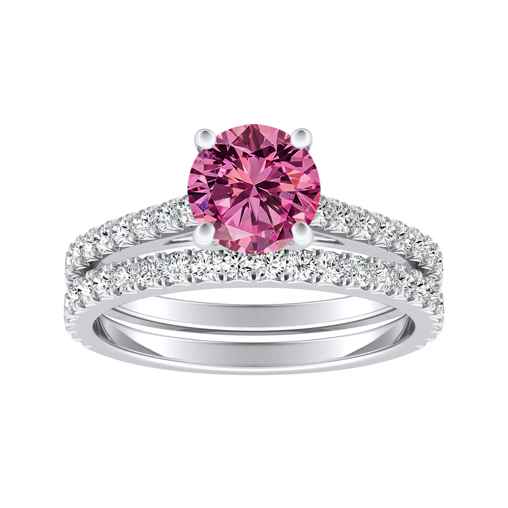 LIV Classic Pink Sapphire Wedding Ring Set In 14K White Gold With 0.50 Carat Round Stone
