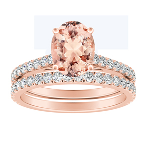 LIV  Classic  Morganite  Wedding  Ring  Set  In  14K  Rose  Gold  With  1.00  Carat  Oval  Stone