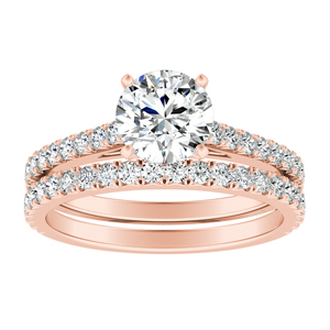 LIV Classic Diamond Wedding Ring Set In 14K Rose Gold With 0.50ct. Round Diamond