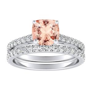 <span>LIV</span> Classic  Morganite  Wedding  Ring  Set  In  14K  White  Gold  With  1.00  Carat  Cushion  Stone