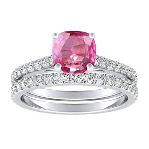 LIV  Classic  Pink  Sapphire  Wedding  Ring  Set  In  14K  White  Gold  With  0.50  Carat  Cushion  Stone