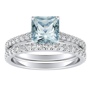 LIV  Classic  Aquamarine  Wedding  Ring  Set  In  14K  White  Gold  With  1.00  Carat  Princess  Stone