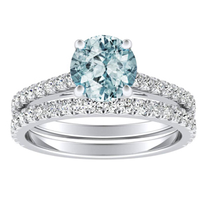 LIV  Classic  Aquamarine  Wedding  Ring  Set  In  14K  White  Gold  With  1.00  Carat  Round  Stone