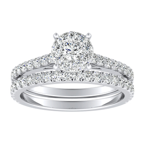 LIV Classic Diamond Wedding Ring Set In 14K White Gold With 0.25 Carat Round Diamond In H-I SI1-SI2 Quality