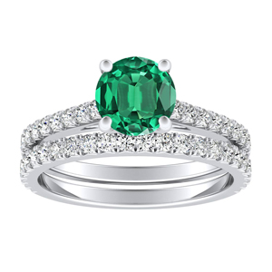 LIV  Classic  Green  Emerald  Wedding  Ring  Set  In  14K  White  Gold  With  0.50  Carat  Round  Stone