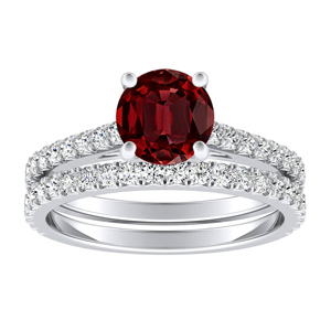LIV  Classic  Ruby  Wedding  Ring  Set  In  14K  White  Gold  With  0.50  Carat  Round  Stone