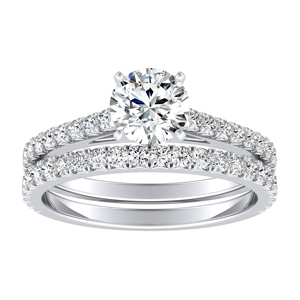 LIV  Classic  Moissanite  Wedding  Ring  Set  In  14K  White  Gold  With  0.50  Carat  Round  Stone