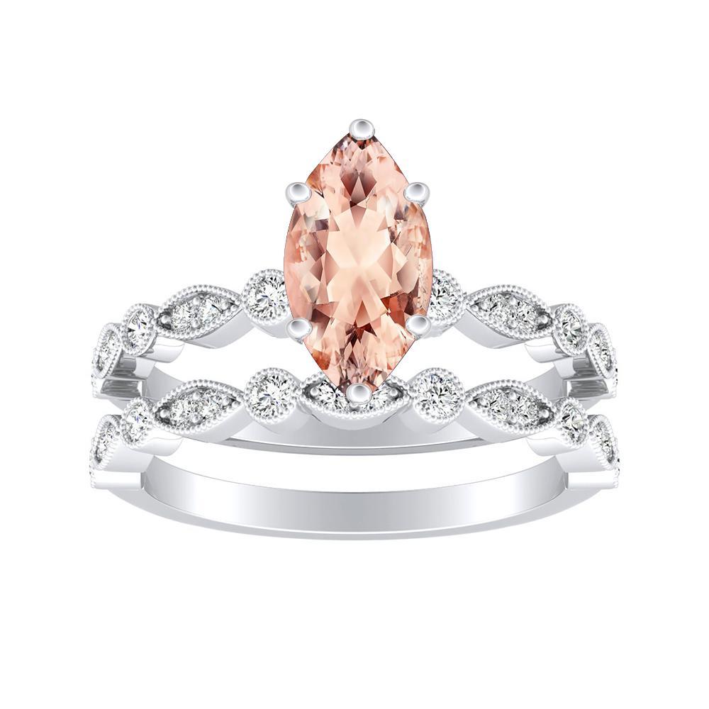 Athena Vintage Style Morganite Wedding Ring Set In 14k White Gold With 1 00 Carat Marquise Stone