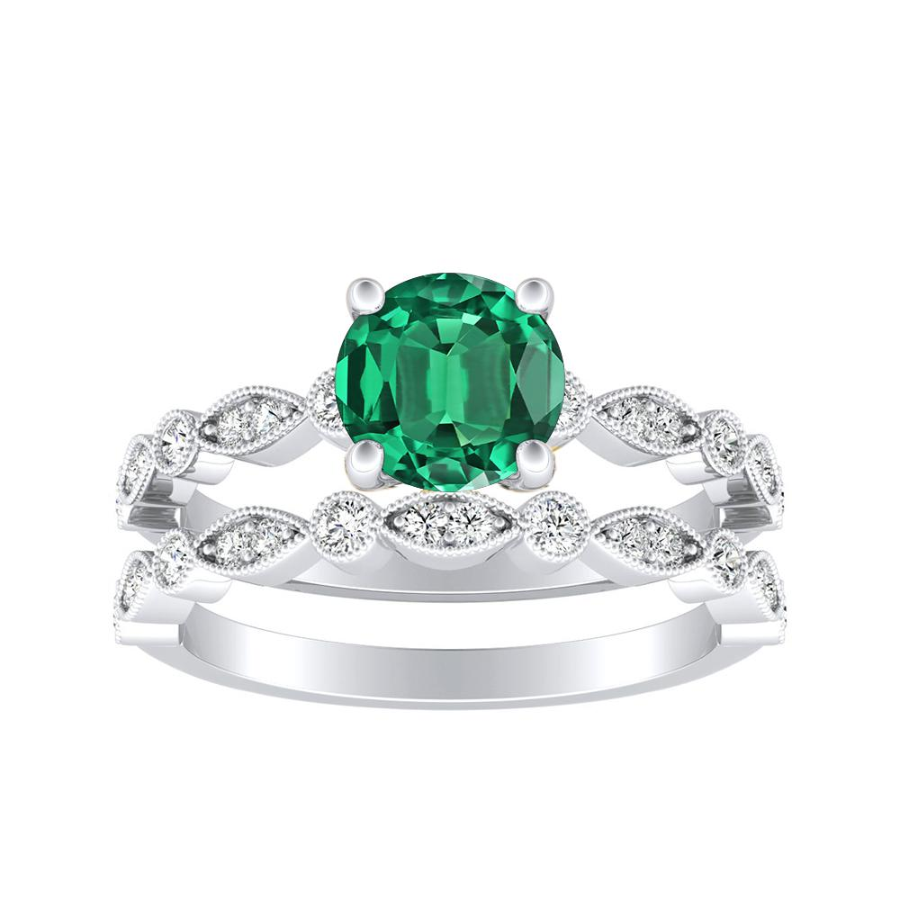 ATHENA Vintage Style Green Emerald Wedding Ring Set In 14K White Gold With 0.30 Carat Round Stone