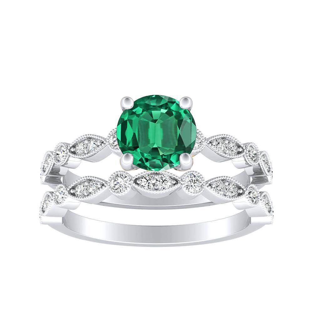 ATHENA Vintage Style Green Emerald Wedding Ring Set In 14K White Gold With 0.50 Carat Round Stone
