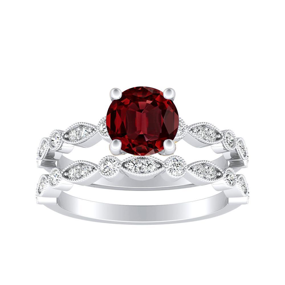 ATHENA Vintage Style Ruby Wedding Ring Set In 14K White Gold With 0.50 Carat Round Stone