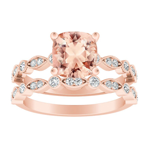 ATHENA Vintage Style Morganite Wedding Ring Set In 14K Rose Gold With 1.00 Carat Cushion Stone