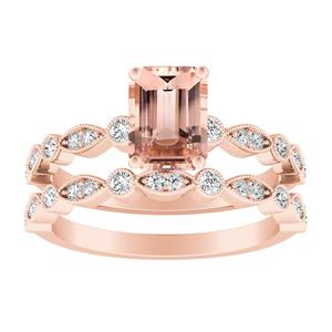 ATHENA  Vintage  Style  Morganite  Wedding  Ring  Set  In  14K  Rose  Gold  With  1.00  Carat  Emerald  Stone
