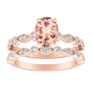 ATHENA Vintage Style Morganite Wedding Ring Set In 14K Rose Gold With 1.00 Carat Oval Stone