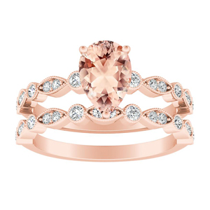 ATHENA  Vintage  Style  Morganite  Wedding  Ring  Set  In  14K  Rose  Gold  With  1.00  Carat  Pear  Stone