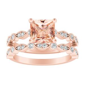 ATHENA  Vintage  Style  Morganite  Wedding  Ring  Set  In  14K  Rose  Gold  With  1.00  Carat  Princess  Stone